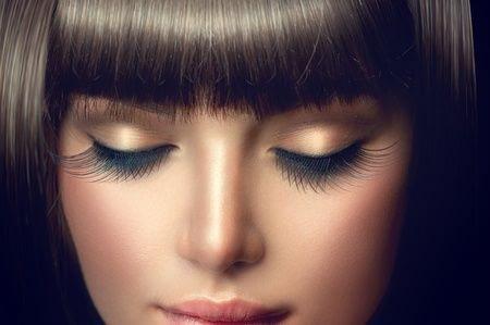 beautiful woman with long eyelashes